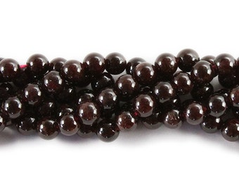 Dark Red Garnet Round Gemstone Beads