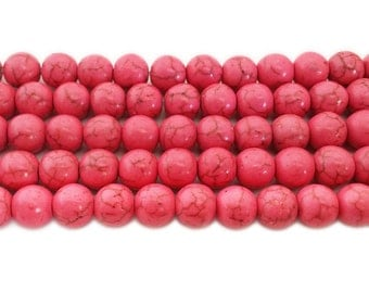 Soft Pink Howlite Round Gemstone Beads