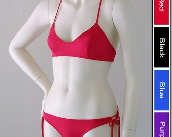 X Back Ballet Top and Tie Bottom Bikini in Red, Blue, Purple, or Black in S-M-L-XL