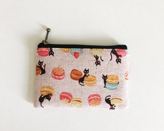 mini zipper pouch  -macaroon and black cats (Last one)