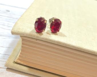 Red Rhinestone Earrings, Small Oval Earrings, Red Glass Earrings, Vintage Rhinestone Earrings in Siam Red, KreatedByKelly