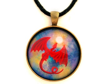 Flying Red Dragon Pendant Necklace Full Moon Cosmic Night Stars Fantasy Jewelry Bohemian Gypsy Art Handmade Unisex Gift for Her Gift for Him