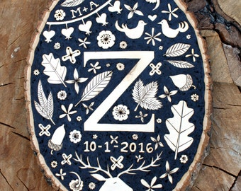 Woodburned Monogram Plaque - Custom/Made-To-Order  - Wedding/Anniversary/Baby Gift