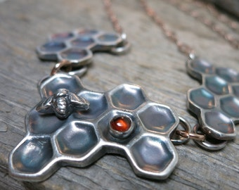 Beekeeper I necklace ... fine silver / sterling sliver / 14K rose gold fill / baltic amber bezel / honeycomb / bee