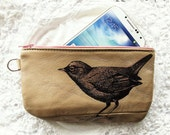 Bird Phone pouch Pencil Case Recycled Leather