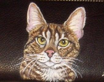 Savannah Cat Custom Painted Ladies Leather Wallet