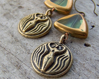 Goddess Earrings || Nile River Goddess | Green Class and Bronze | Earthy and Organic | Unique and different || Earrings Under 20