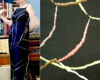 70s Marimekko Dress Finnish Vintage Black Artsy Abstract Authentic Designer Maxi Print Polished Cotton Long  M / L