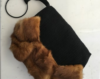 30s Muff Kolinsky Fur & Black Woolen Muff 1930s Authentic Antique Vintage Accessory Christmas Carols Caroling Sleigh Rides
