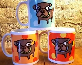 Set of 3 Pop Art Polka Dot Pug Mugs in Blue Orange and Red