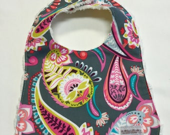 Baby Girl's Bib in Pink and Green Floral Fabric- Baby Girl Gift- Baby Girl