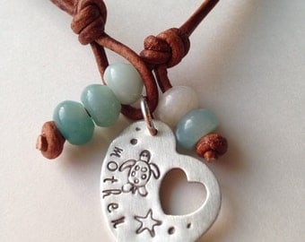 Mother Necklace with Sea Turtle and Amazonite in Leather