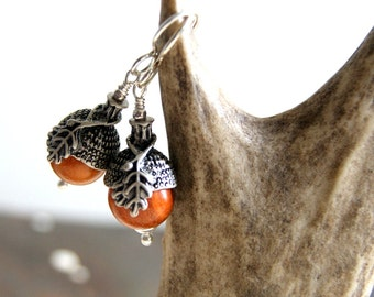 Acorn Earrings with Redwood Beads and Antiqued Silver Bead Caps - Woodland - Botanical Jewelry
