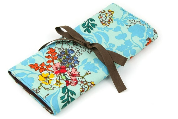 Short Knitting Needle Case Organizer - Tangle Aqua - 24 brown pockets for circular, double pointed, interchangeable or travel