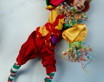 """TOMMASI- One Of A Kind - ELF, Polymer Clay- 9"""" (23 cm) Tall, Hanging Doll, Art Doll, Sculpture, Michelle Munzone, Jester, Christmas, signed"""