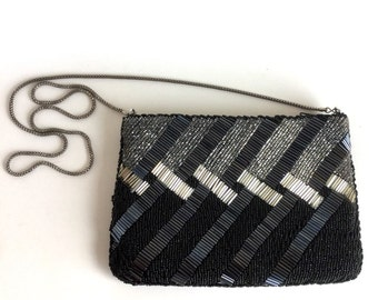 Vintage Black and Silver Beaded Evening Bag - Diagonal Lines, Shimmery Glossy Glass Seed Beads Tube Beads - Long Silver Chain Shoulder Strap