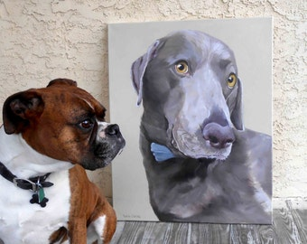 "Large Oil Painting, 18"" x 24"" dog portrait, Weimaraner Mix or any breed"