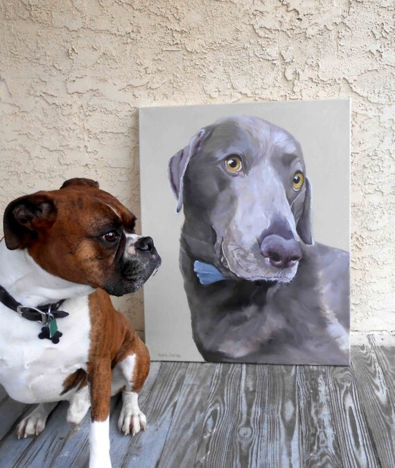 """Large Oil Painting, 18"""" x 24"""" dog portrait, Weimaraner Mix or any breed"""