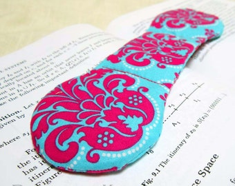 Book Accessory - Damask Book Weight - Bright Pink and Teal Aqua Blue Weight to Hold Book Open - handmade bookweight page holder