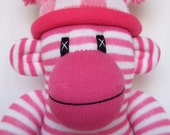 Pink Striped Sock Monkey with a checked pom pom hat (made to order)