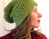 Apple green slouch beanie ready to ship