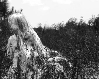 Making Her Way - FREE SHIPPING Black & White Surreal Photo Print Portrait Blond Girl with long hair in grass Creepy Dark Art Wall Goth Gray