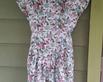 Vintage 80s 90s romantic floral print cap sleeve dress size 11/12