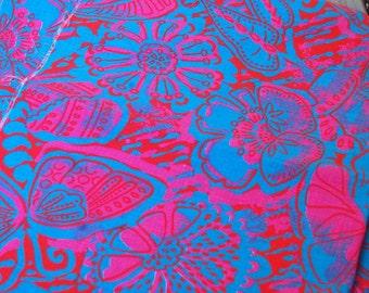 "Vintage Tiki Tropical Luau Floral Print Fabric 1.5 yds x 35"""