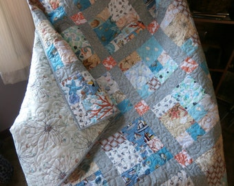 City by the Sea, handmade quilt, seashore themed, Lap Quilt, couch Quilt, resort style lap blanket, seashells, coral, cityscape pattern