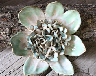 Wall Flower with green blue and white
