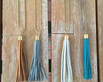 """Leather tassel necklace -- 42"""" BRASS chain (in teal, brown, gray, and natural)"""