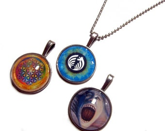 Lot of 3 - Rainbow Flower of Life, BassNectar Eye, Pink Floyd The Wall Pendants 1 Inch Photo Pendant with 24 inch Ball Necklace