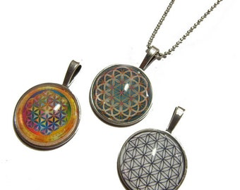 Lot of 3 - Flower of Life Pendants - Group 2 - 1 Inch Photo Pendant with 24 inch Ball Necklace