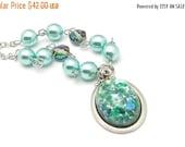 Victorian Teal Necklace, Mint Pearl Pendant, Foil Confetti Art Glass, Vintage Swarovski Crystals, Bridesmaid gift, Mint Wedding