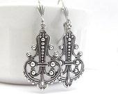 Art Nouveau Earrings, Chandelier Earrings, Wedding Jewelry, Bridal Earrings, Bohemian Earrings, Deco Moroccan Bohemian Boho Dangle