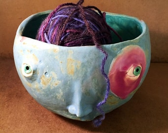 Yarn Bowl - hot orchid circle