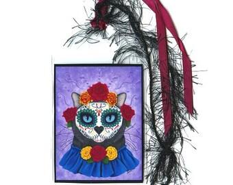 SALE Day of the Dead Cat Bookmark Mexican Sugar Skull Black Cat Bookmarker Fantasy Cat Art Mini Bookmark Cat Lovers Gift