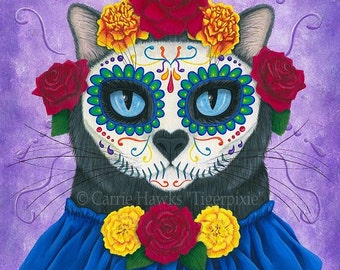 Day of the Dead Cat Art Gothic Mexican Sugar Skull Fantasy Cat Art ACEO / ATC Mini Print Cat Lover Gift
