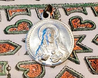 VINTAGE SCAPULAR MEDAL Religious Sacred Heart of Jesus