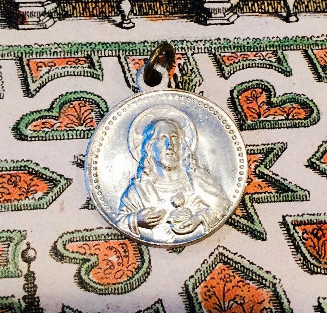 antique sacred heart medal eBay