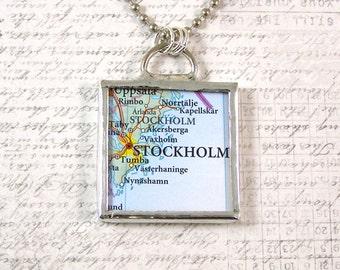 Stockholm Sweden Map Pendant Necklace