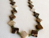 Jewelry, Jasper and Jade Necklace, Brown and Green Shades, Sterling Silver Clasp, Statteam