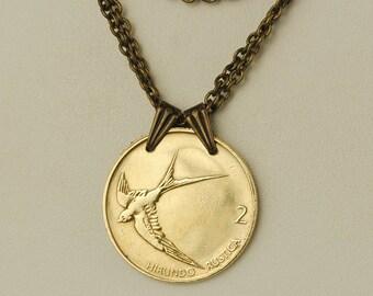 Slovenia Coin Necklace 1999 Barn Swallow