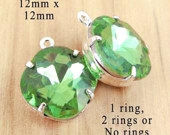 Peridot Green Glass Beads, Cushion Cut, Octagon, Silver Plated Brass Settings, 12mm x 12mm, Rhinestone Jewel, Glass Gems, Cabochon, One Pair