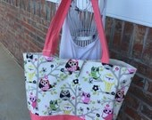 Large owl tote
