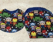 Baby Avengers Infant Baby Bib and Baby Burp Cloth- set of 2- gift set Spider-Man Hulk Ironman captain America