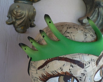 Glow in the dark Alien Pixie Points, small horns head piece, hand painted leather costume accessory