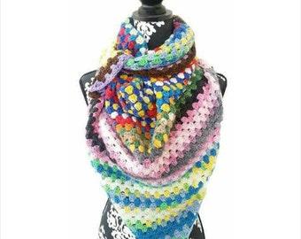 Blanket Scarf, Triangle Scarf, Hippie, Retro Style, Handmade Scarf, Spring Fashion