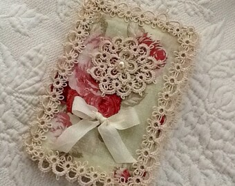 Elegant Hand Tatted Journal Cover Removable Quilt Fabric With Vintage Lace