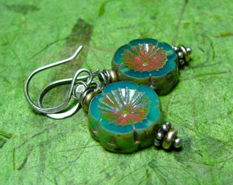 BiMetal Blooms - Picasso Czech Glass, Brass and Sterling Silver Earrings